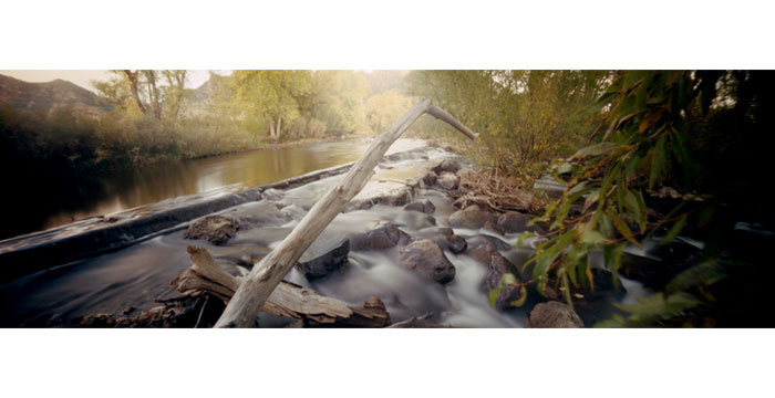 South Boulder Creek, 2008. Pinhole Camera, Color Film, Pigment Inkjet Print, 12x36