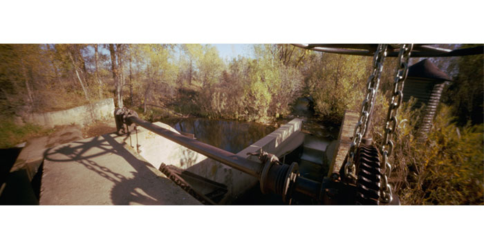 Shadow of the Wheel, 2010. Pinhole Camera, Color Film, Pigment Inkjet Print,